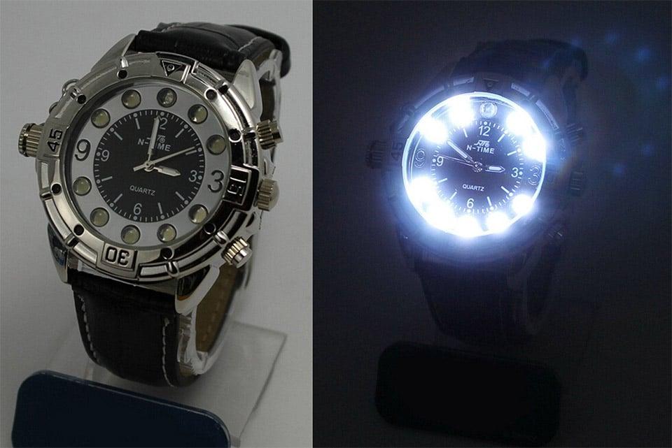 led flashlight watch   the awesomer