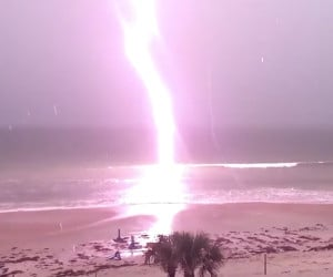 Beach Lightning in Slow-Motion