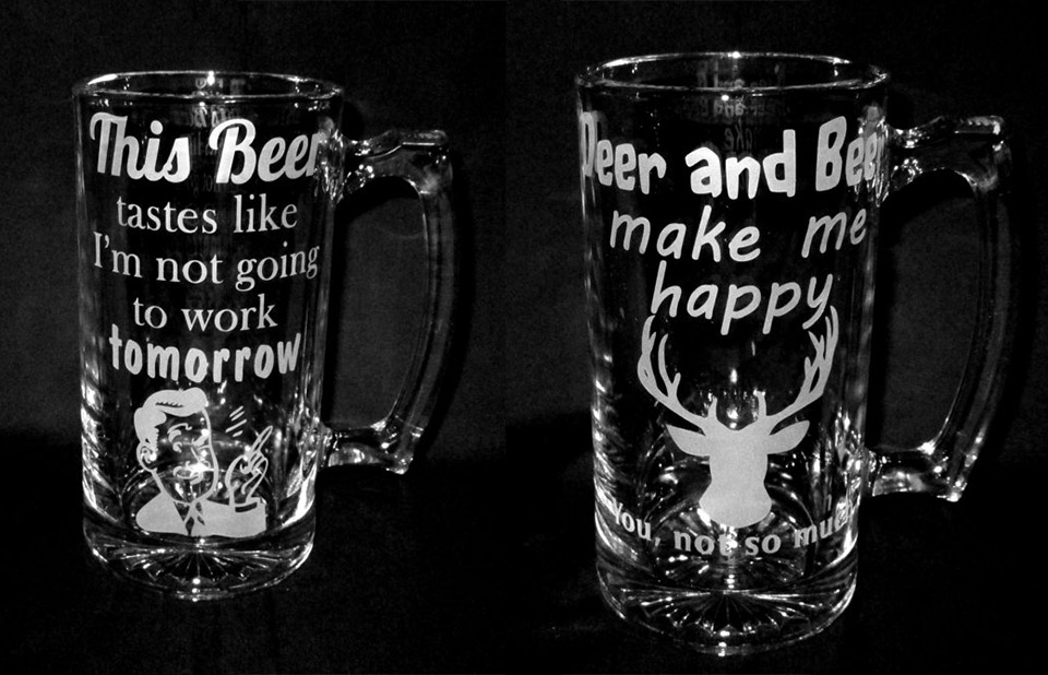 etched glass beer mugs