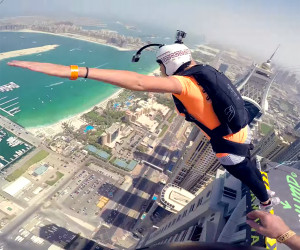 Awesome Base Jumping On The Awesomer - Crazy guy base jumps radio tower