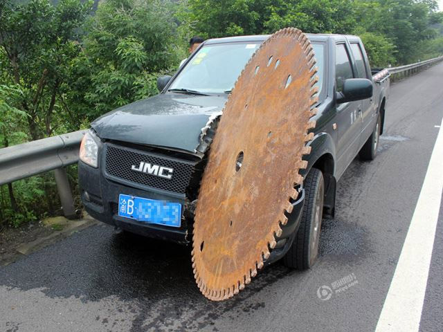 Giant Saw Blade Close Call