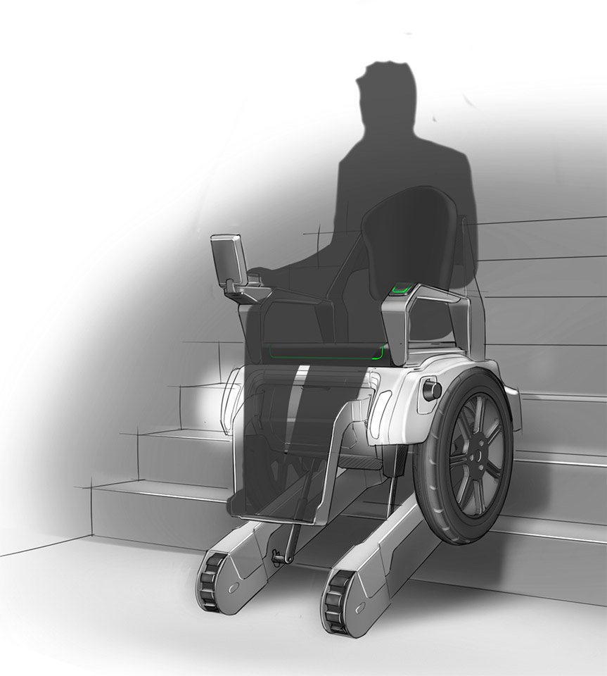 how to use a wheelchair on stairs