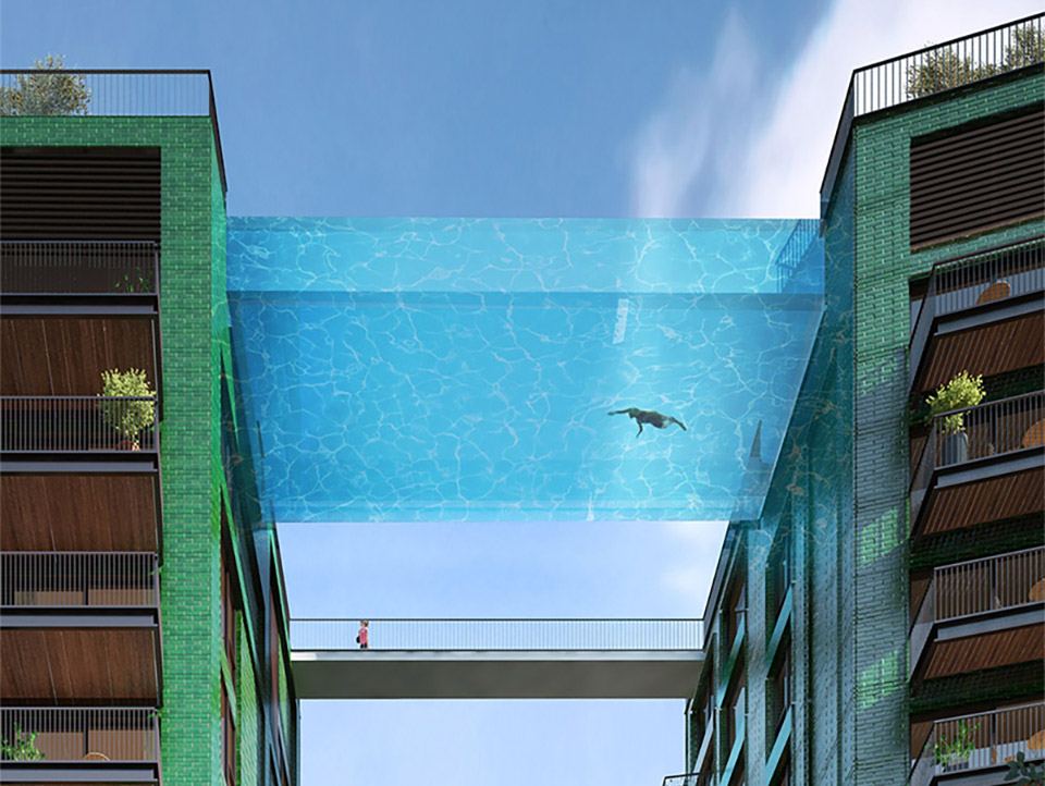 Glass-Bottomed Pool Bridge