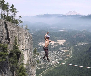 World Record Free Solo Slackline