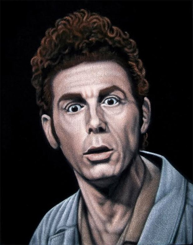 """Kramer"" velvet painting by Bruce White"