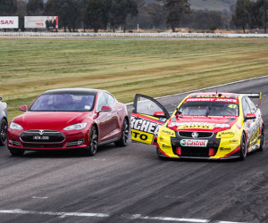 Model S vs. V8 Supercar Drag Race
