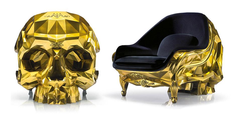 Gold Skull Armchair