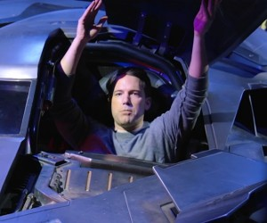 Affleck Hides in the Batmobile