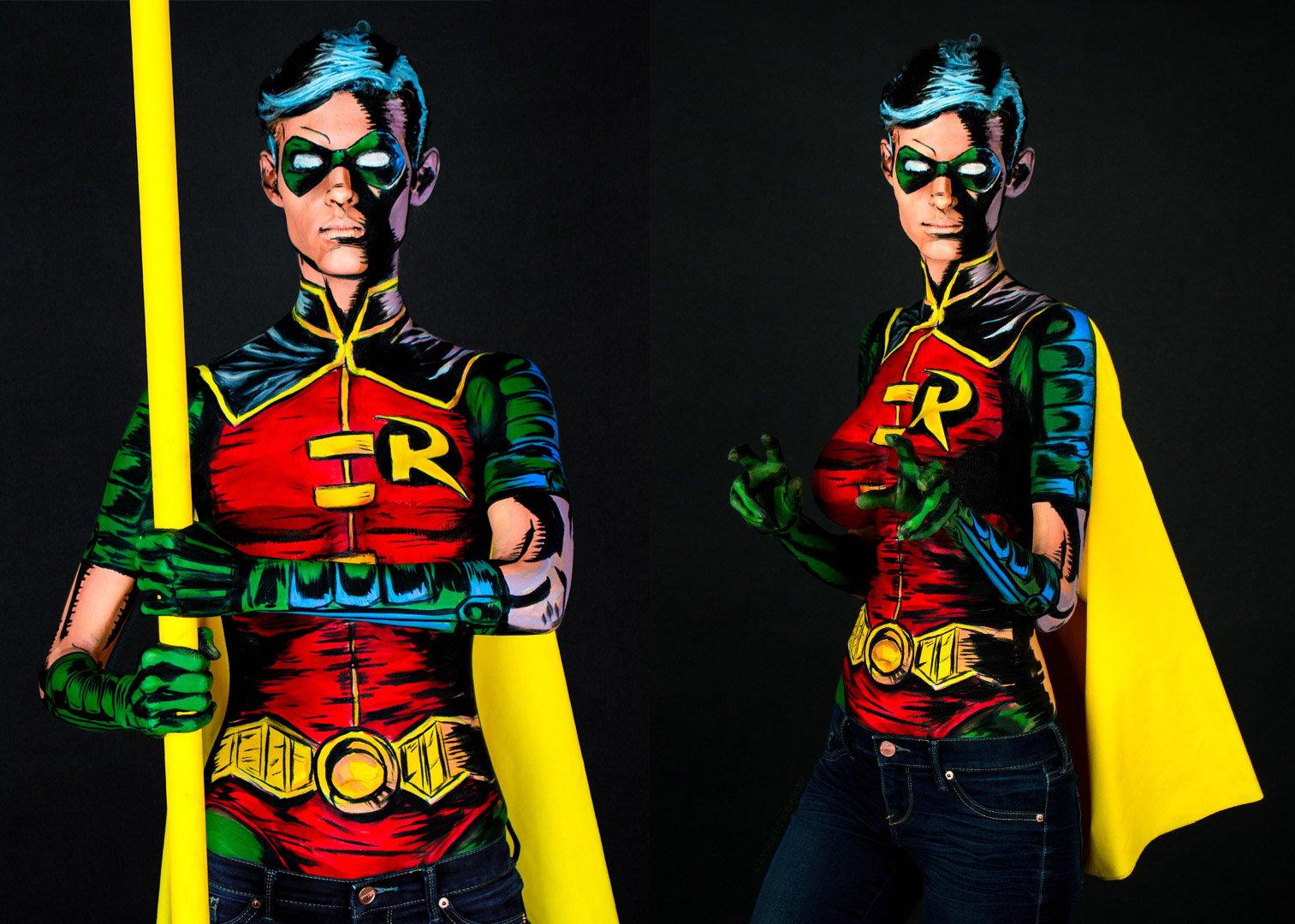 Robin Body Paint Cosplay