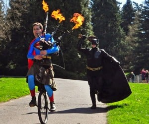 Ukulele Batman v Bagpipe Superman
