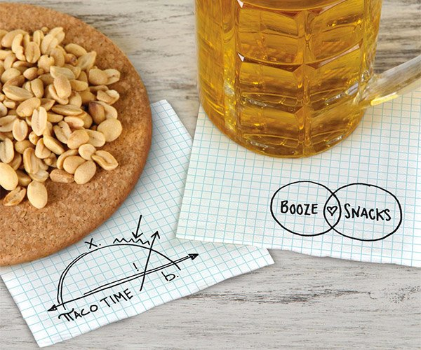 Graph Paper Cocktail Napkins