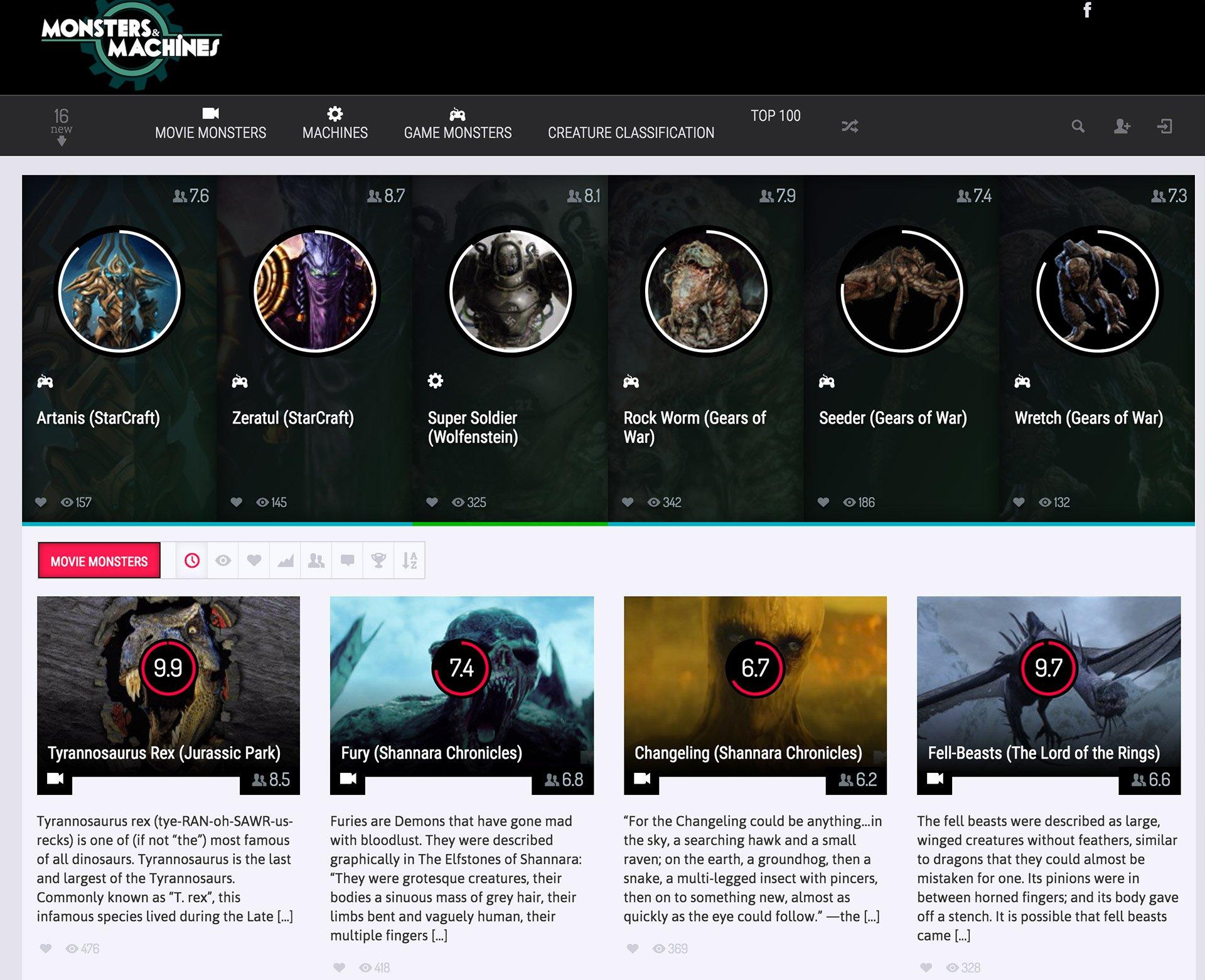 Monsters & Machines Database