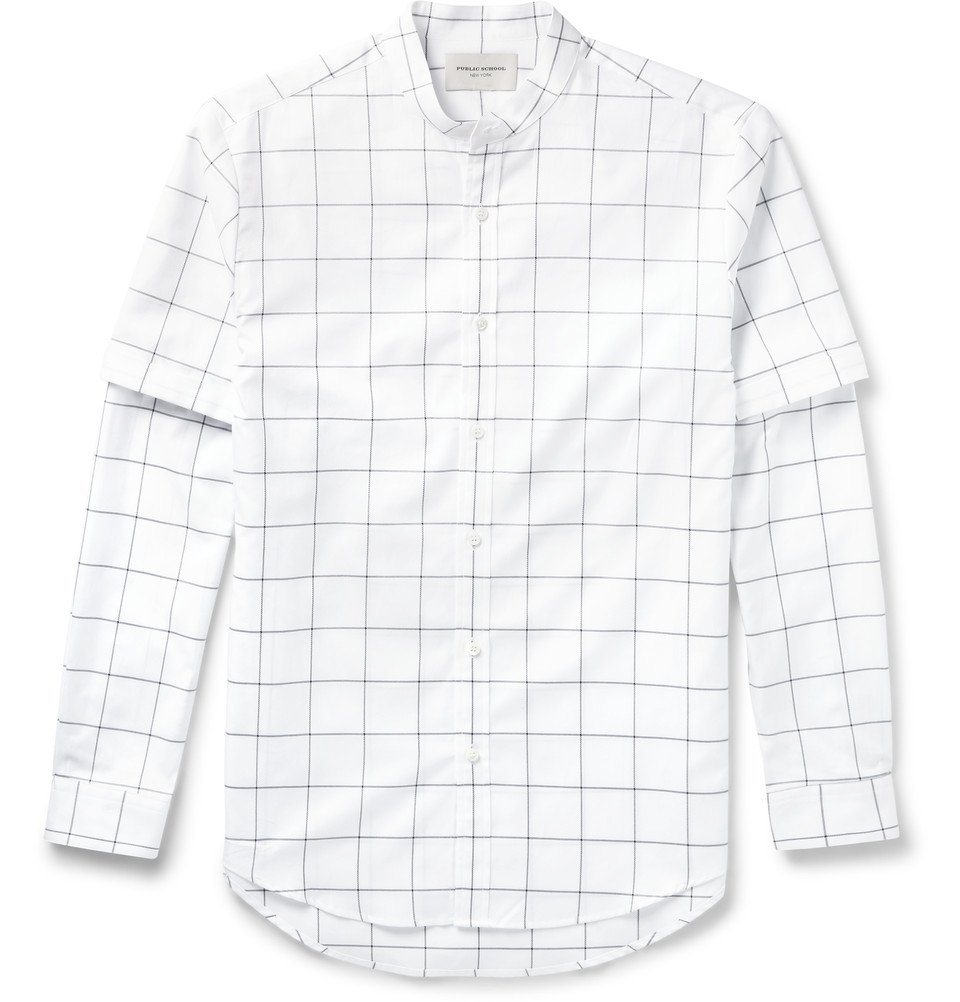 Grandad-Collar Checked Shirt