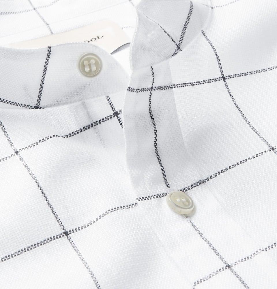 Grandad-Collar Checked Shirt