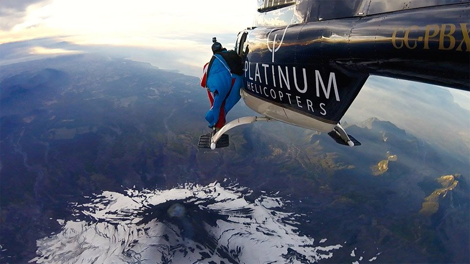 Wingsuit over a Volcano