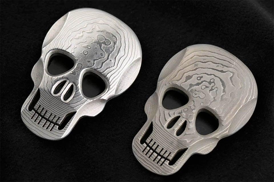 Damascus Skull Money Clip