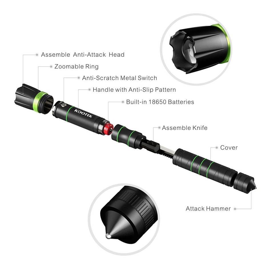 Kootek Tactical Flashlight Knife The Awesomer