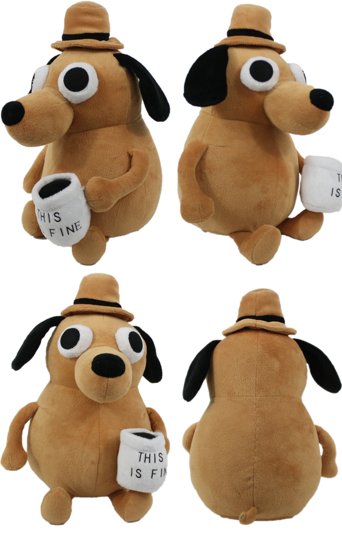 This Is Fine Dog Stuffed Animal, This Is Fine Dog Plushie
