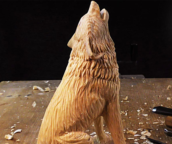 Wolf Carving Time-Lapse