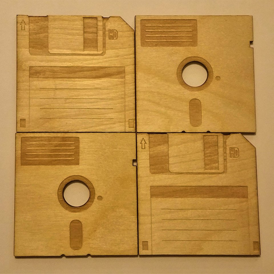 Floppy Disk Wood Coasters