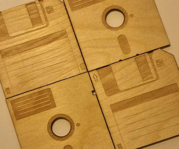 Floppy Disk Wood Coasters