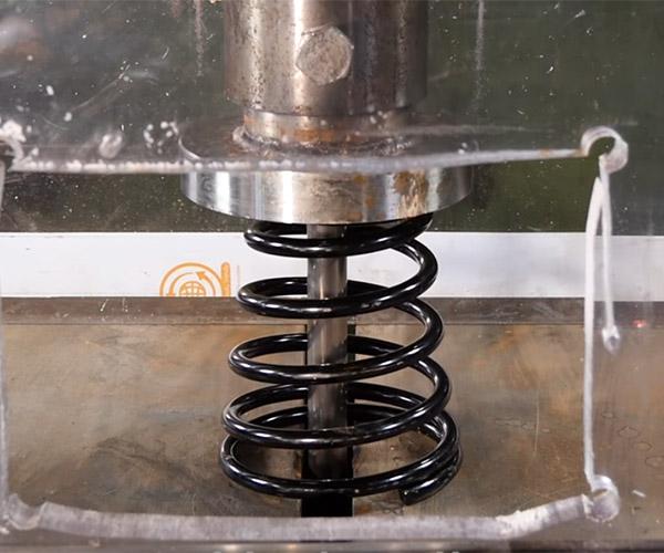 Hydraulic Press vs. Car Spring