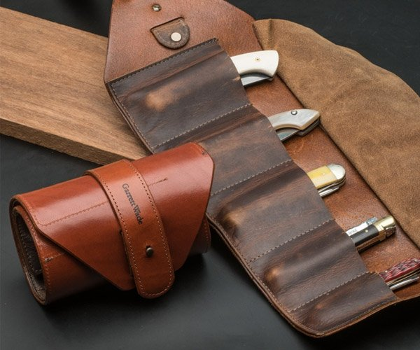 Leather Pocket Knife Tool Roll