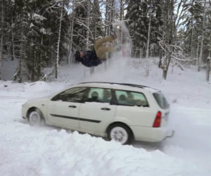 Snowboard Backflip on Car