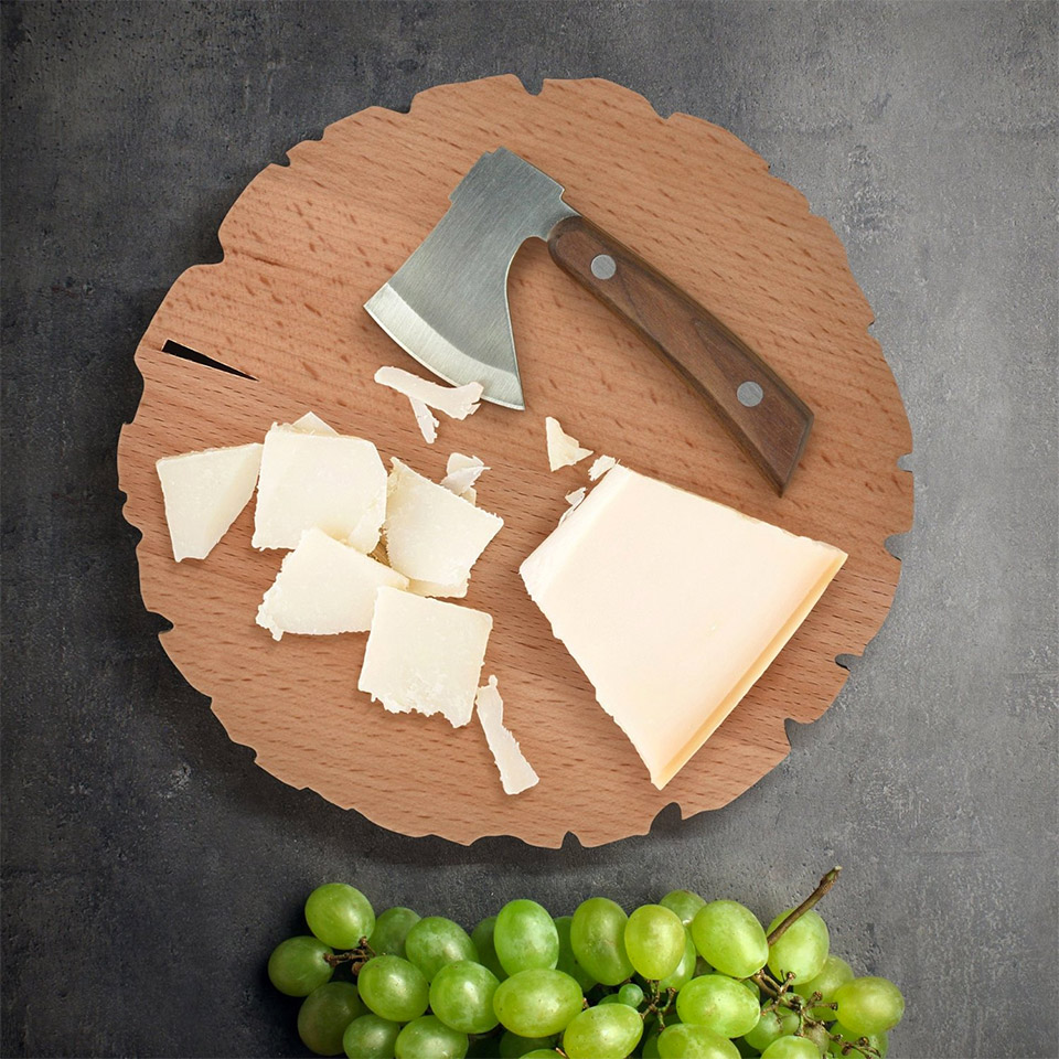 Cheese Log Cutting Board + Knife
