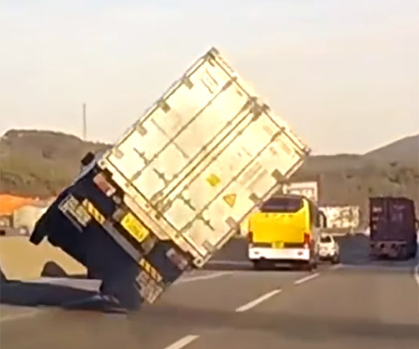 Truck Tipover Close Call