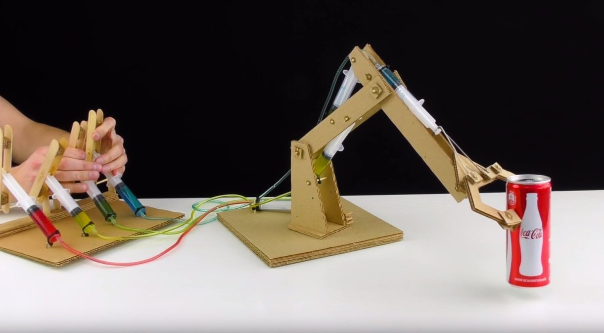 How To Build A Robot Arm From Cardboard And Syringes