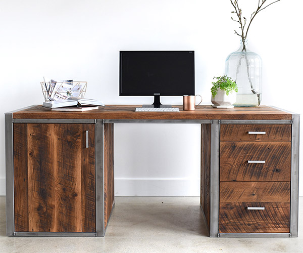 Industrial Modern 3-Drawer Desk