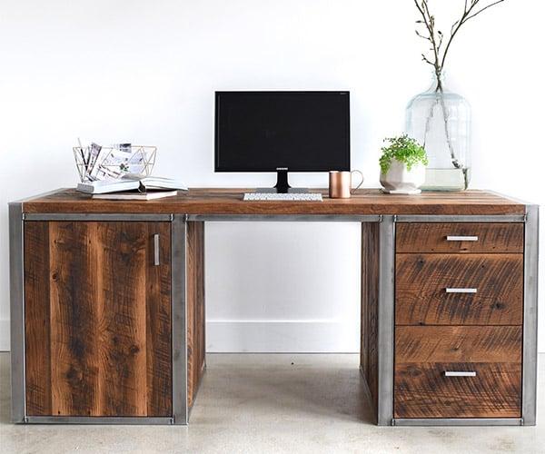 Industrial Modern 3-Drawer Desk