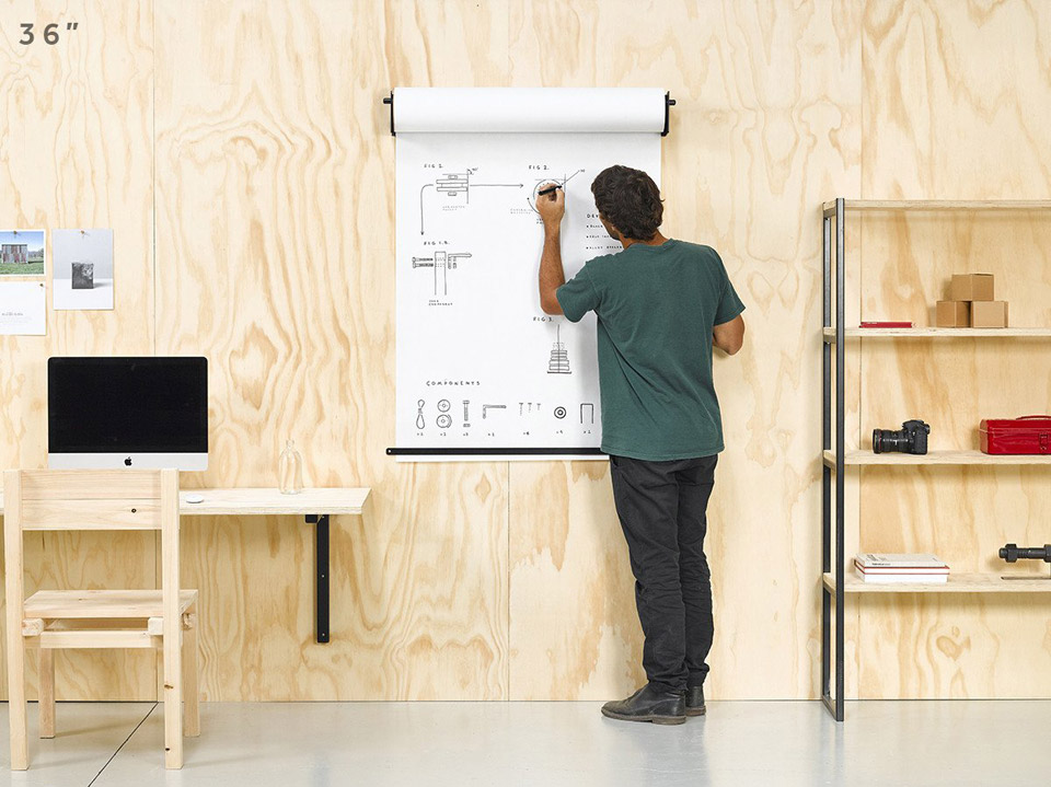 sketch and scribble on large kraft paper with this wall mounted holder