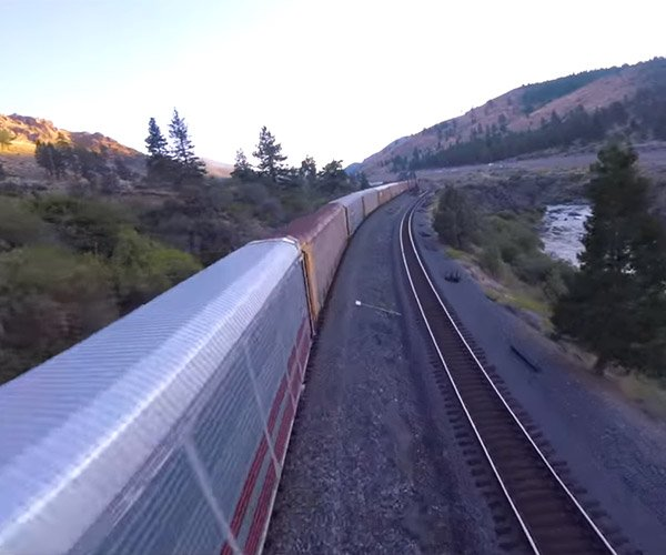 Drone Buzzes Freight Train