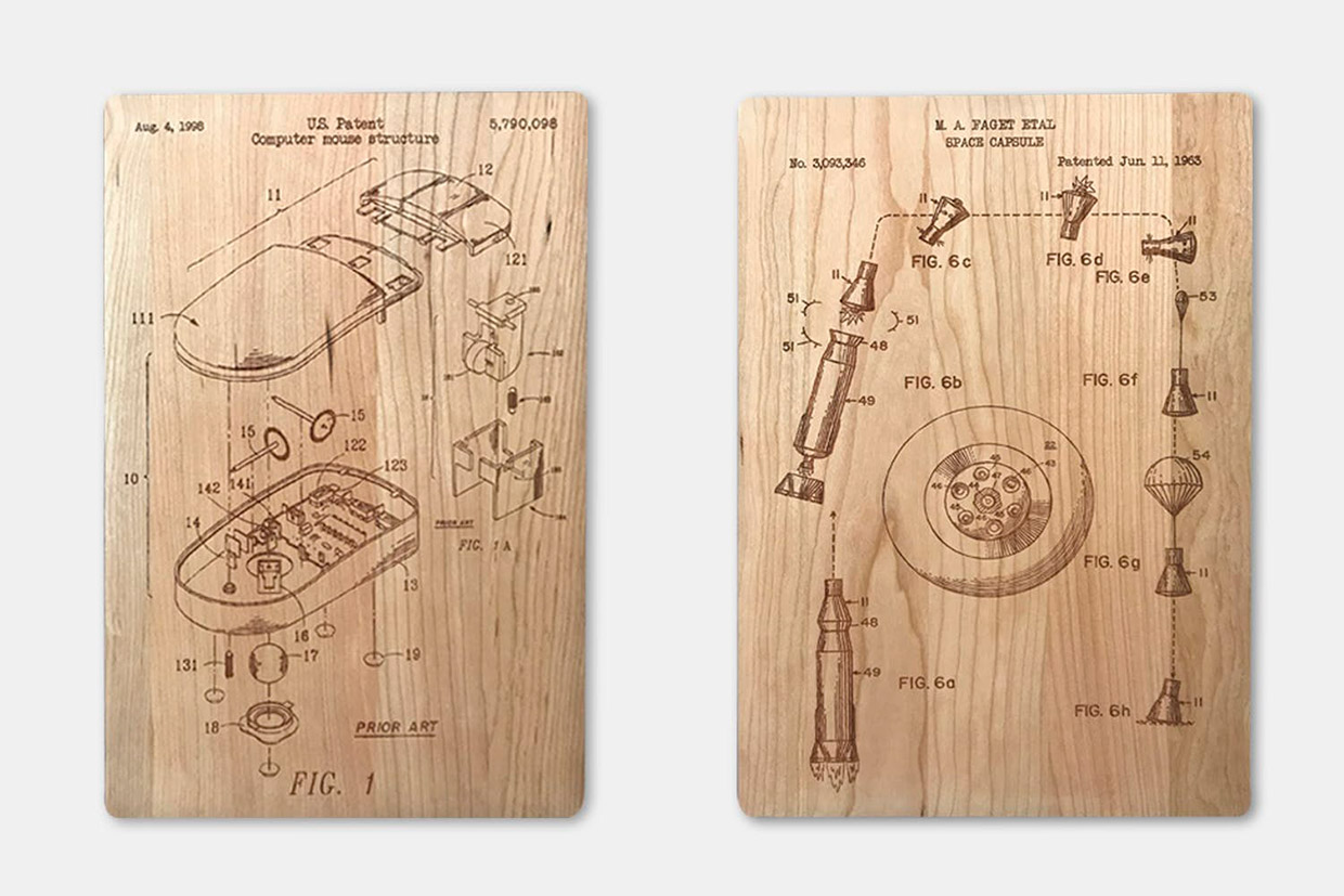 Engraved Wood Patent Prints