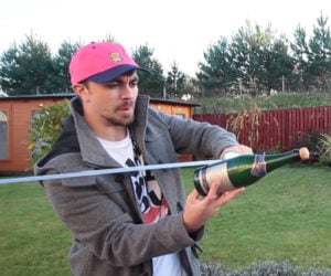 Learning to Saber a Champagne Bottle