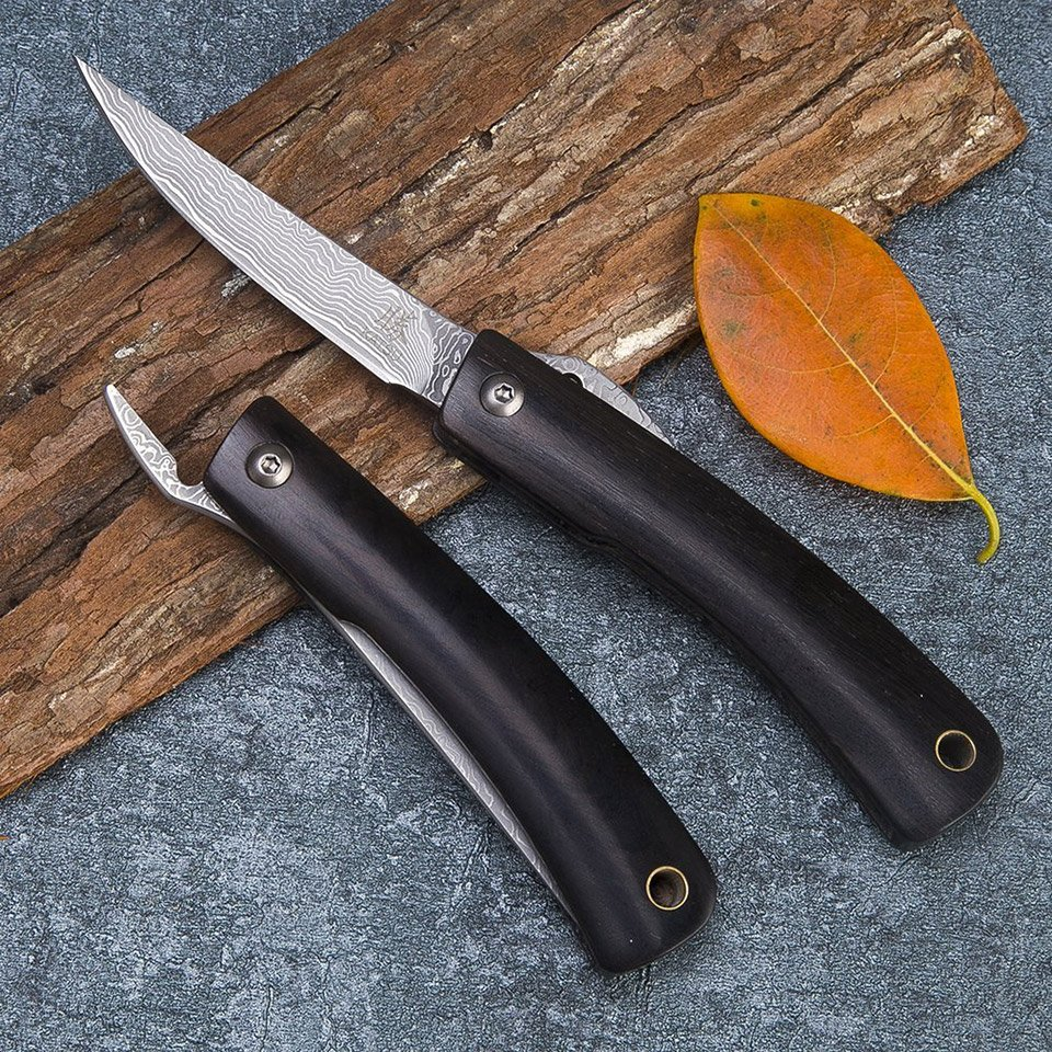 Katsu Damascus Folding Knife