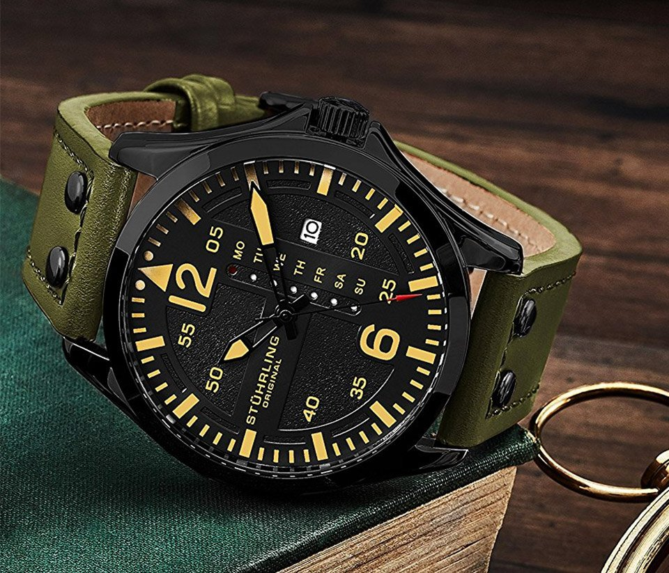 stainless luxury steel sports analog aviator watch res itm sturhling resistant men watches for green water