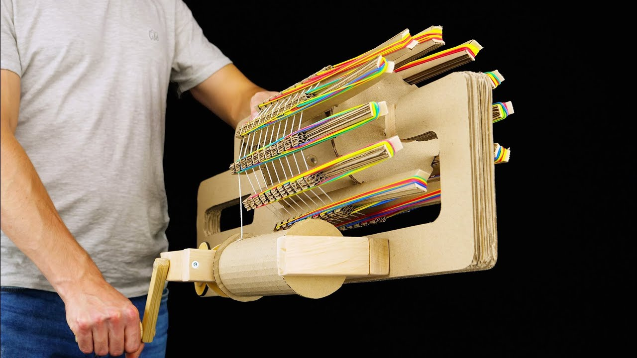 How To Make A Rubber Band Machine Gun From Cardboard And Wood