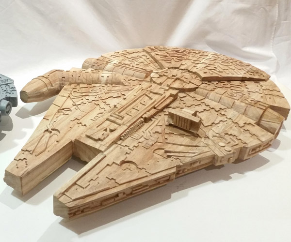 Carved Wood Millennium Falcons