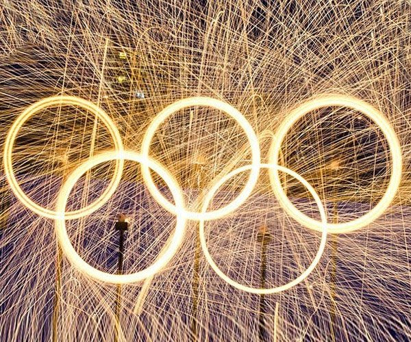 Steel Wool Fire Olympic Rings