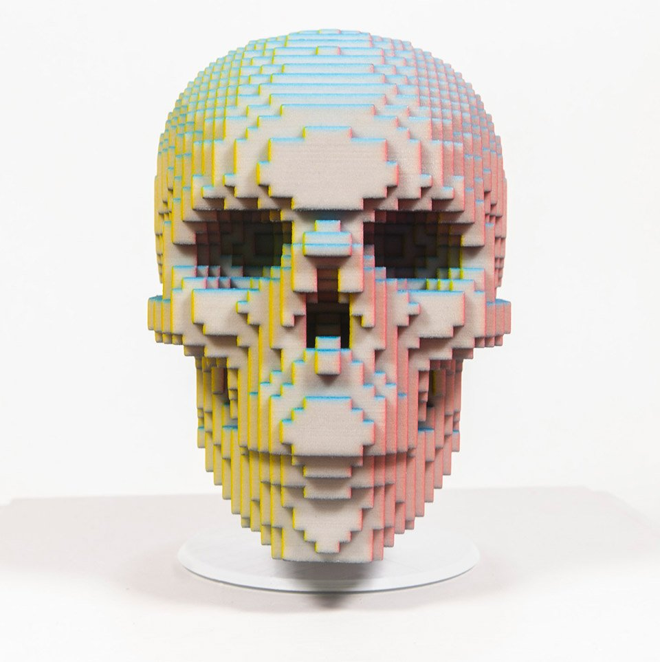 Color Illusion 3D-printed Skull