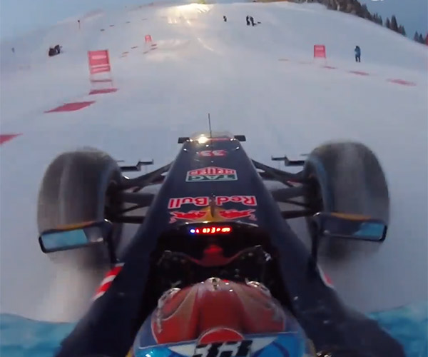 F1 Car Goes Skiing