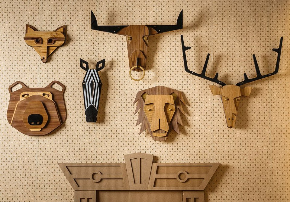 Wooden Animal Mask Trophies