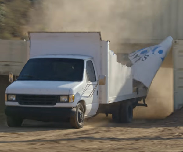 Moving Van vs Overpass Slow-mo