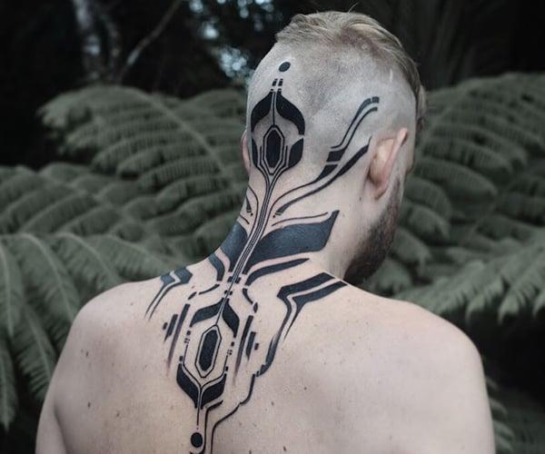 Blackwork Cybernetic Tattoos