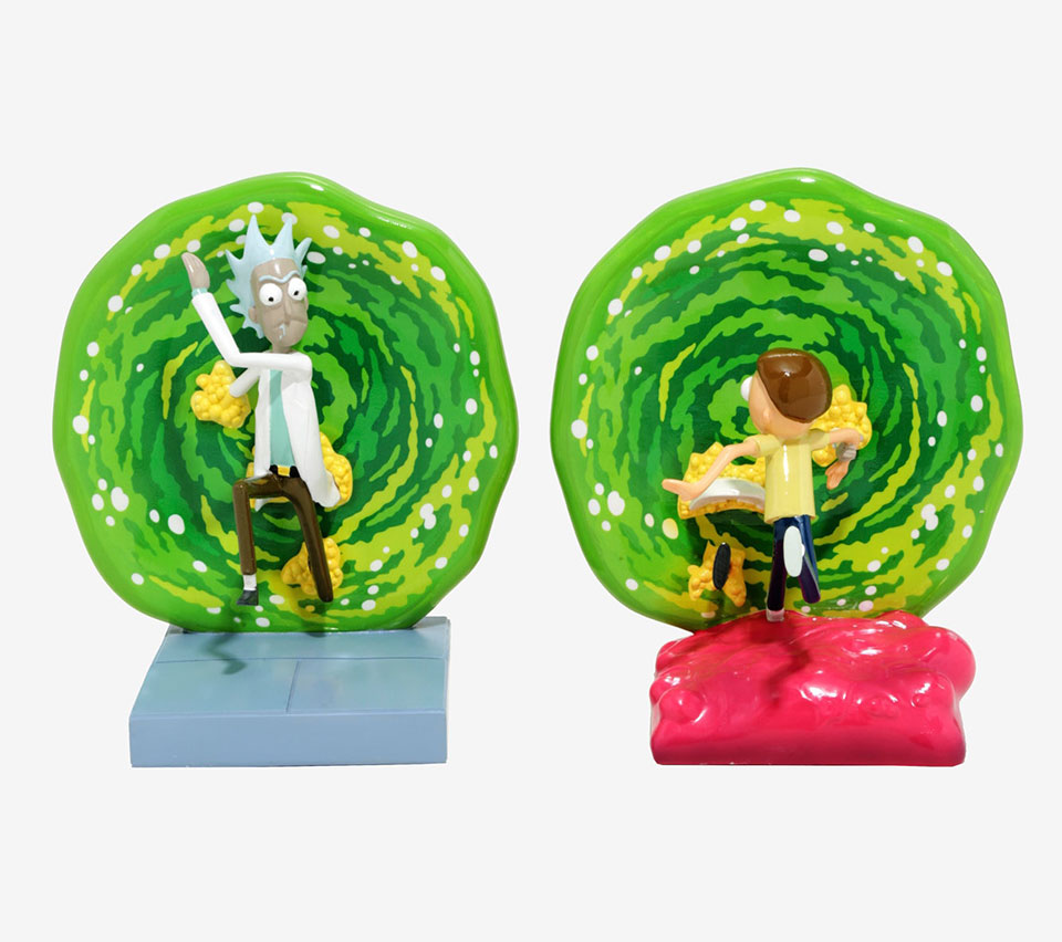 Rick & Morty Portal Bookends Blast Your Books Through the
