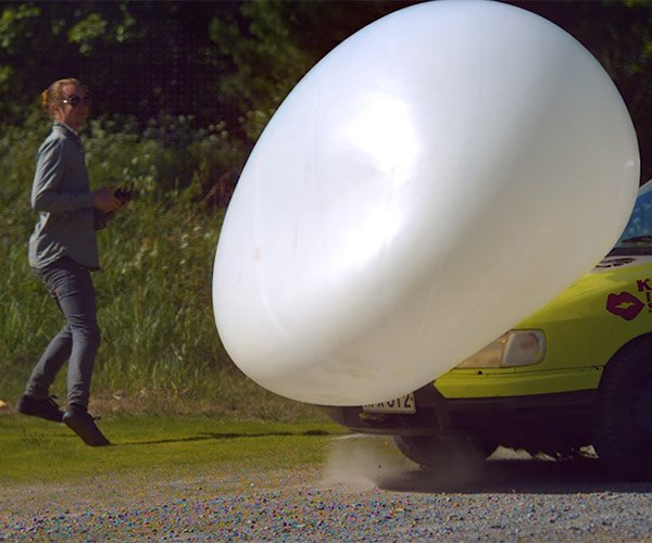 Car vs. Giant Balloon Slow-mo
