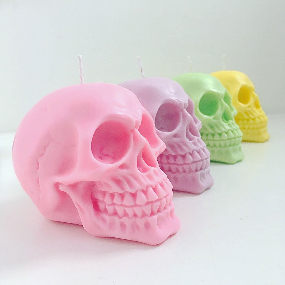 Pastel Skull Candle
